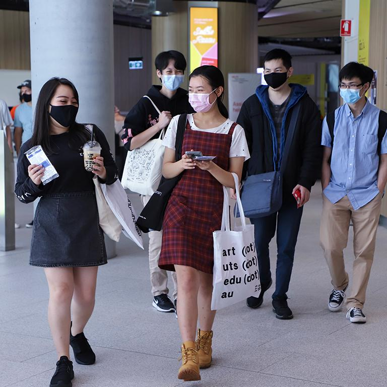 Students wearing masks in UTS Central